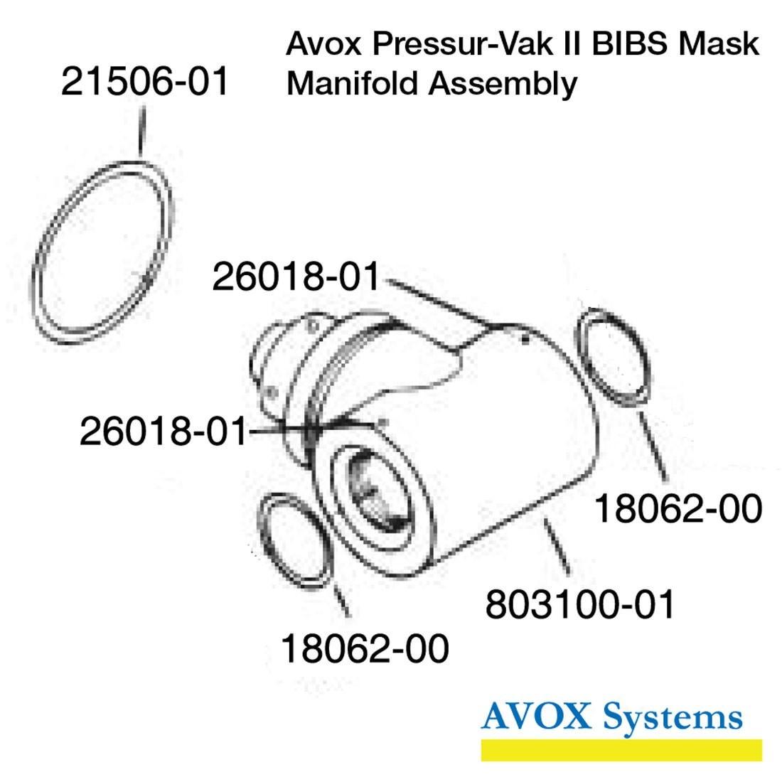 Avox Pressur-Vak II BIBS Mask - Manifold Assembly