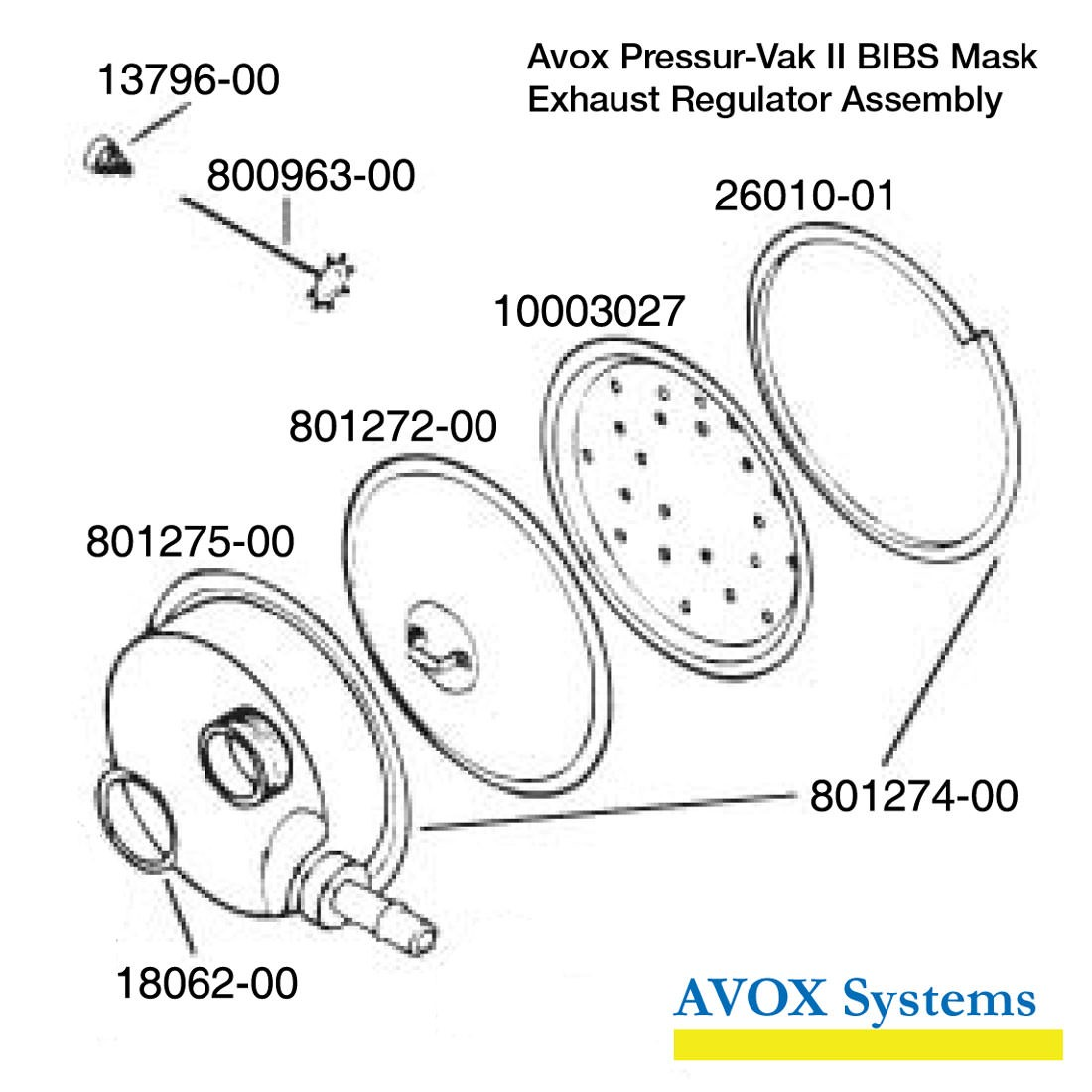 Avox Pressur-Vak II BIBS Mask - Exhaust Regulator Assembly