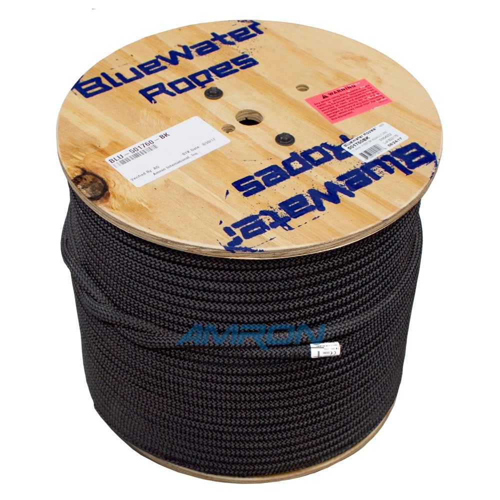 """Bluewater Ropes 11mm (7/16"""" x 600ft) Assaultline® Rope - Black"""