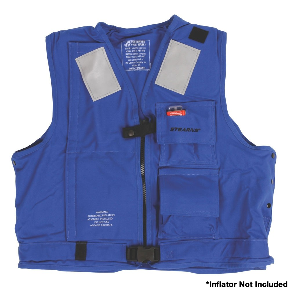 Stearns U.S. Navy MK1 Inflatable Vest Shell  Only - Blue