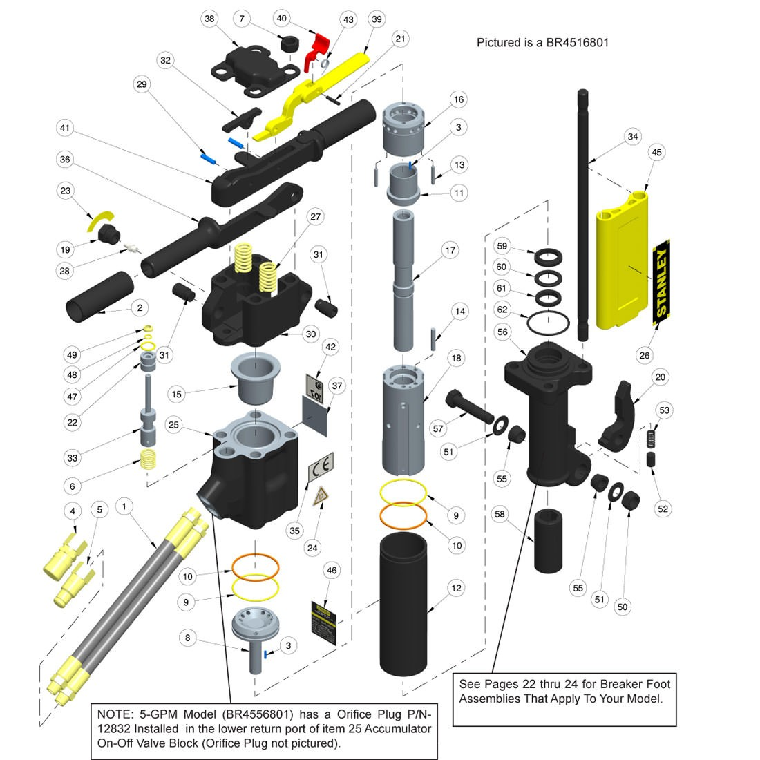 Stanley BR45 Anti-Vibration Handle Parts Illustration