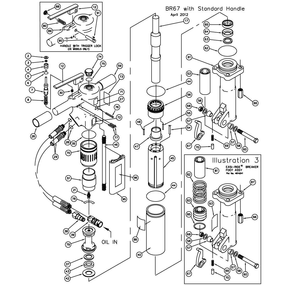 Stanley BR67 Handle Parts Illustration