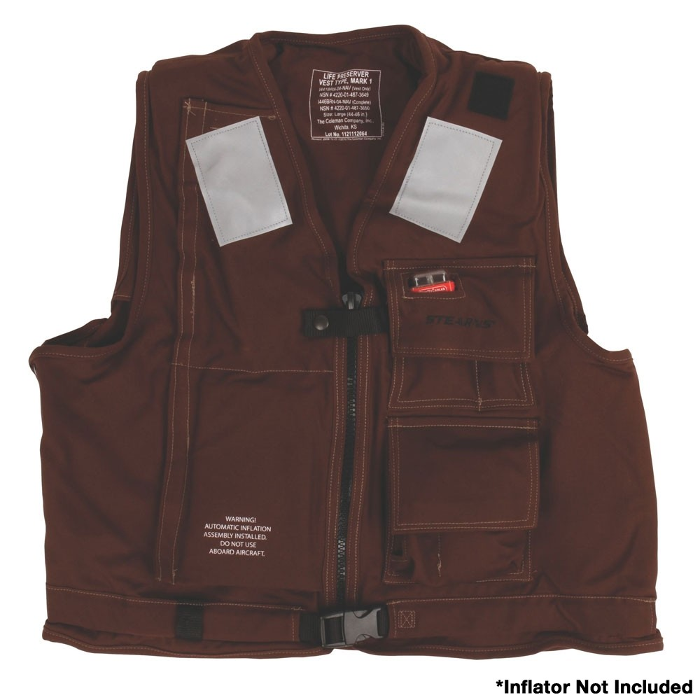 Stearns U.S. Navy MK1 Inflatable Vest Shell  Only - Brown