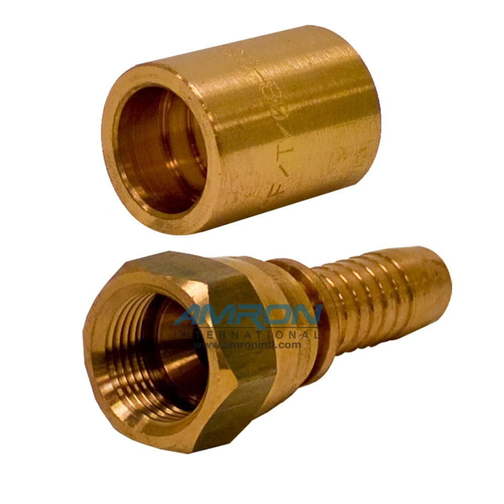 Cortland 1/2 inch #8 JIC Hose Fitting Swagable Phosphor - Bronze FPBSF/T/08-08JIC