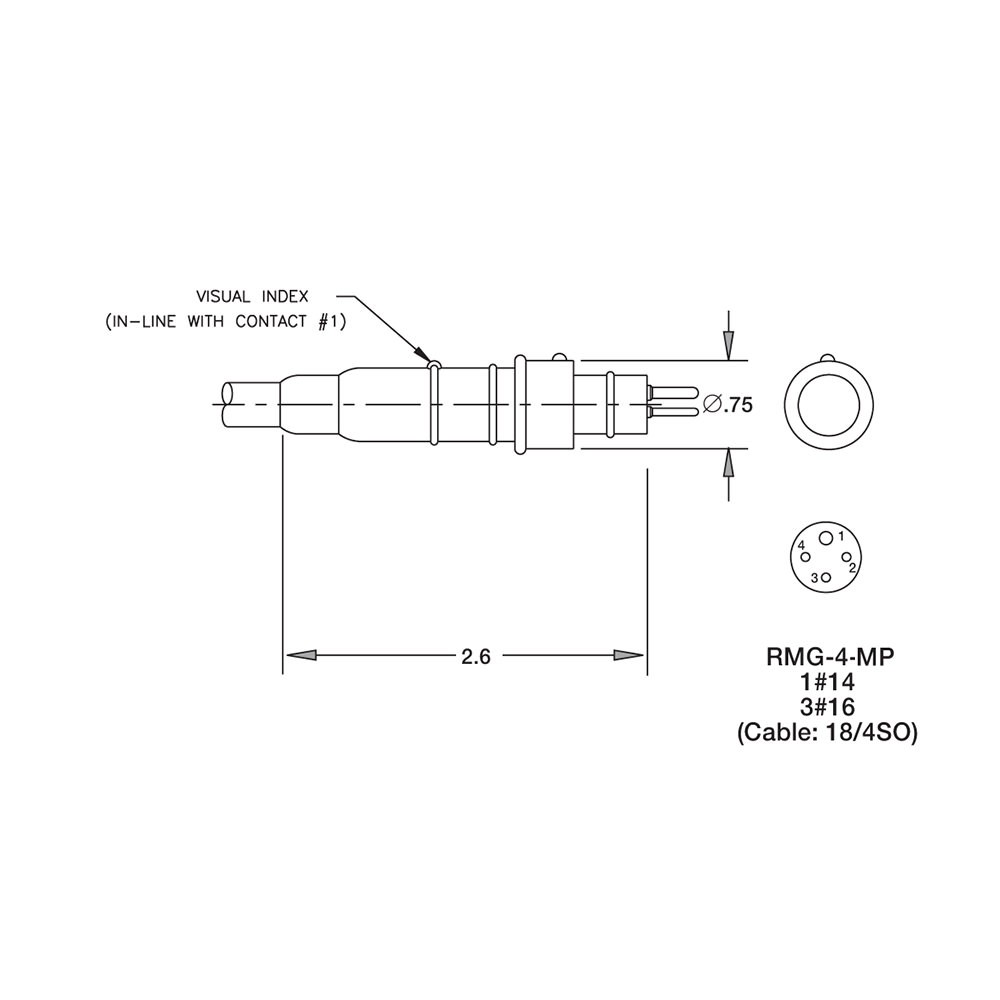 SEA CON Rubber Molded Dummy Connector - 4 Pin Male - Low Pressure RMG-4-MPD-LP Dimension Details