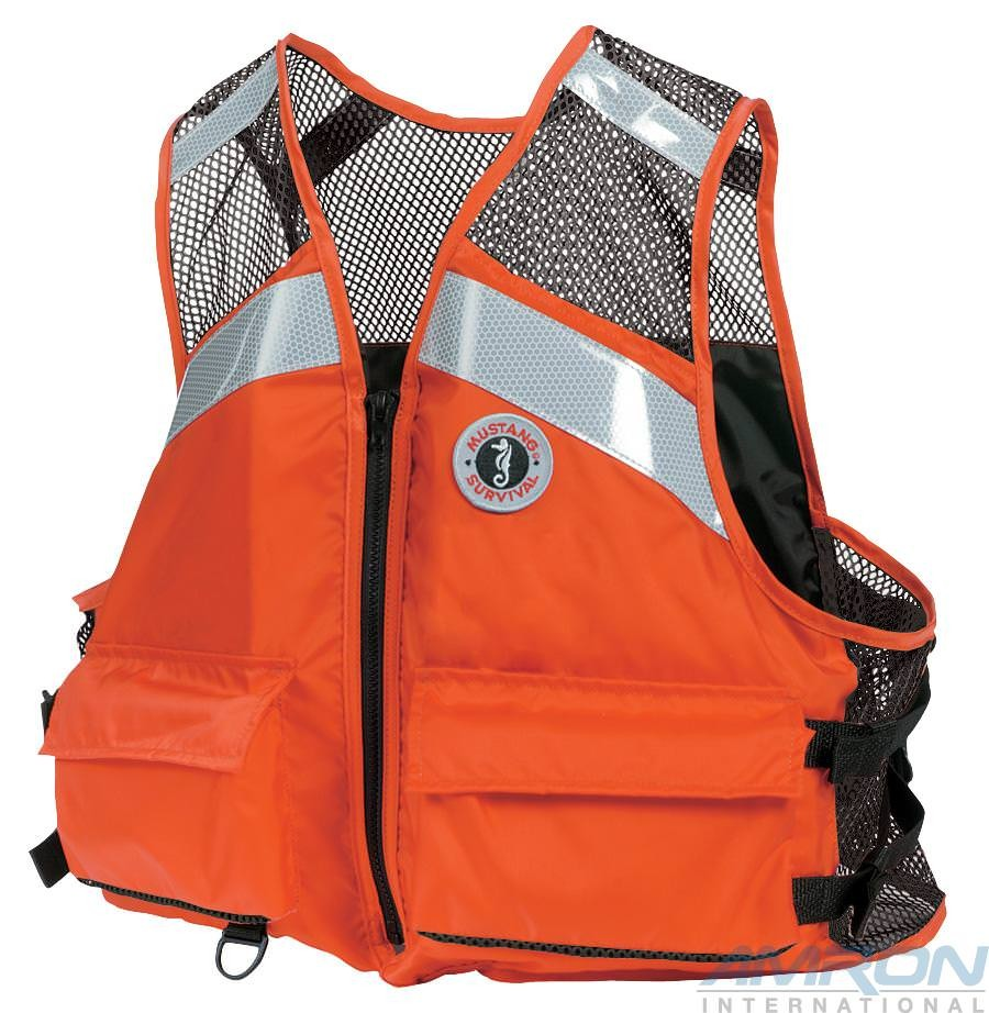 Mustang Survival MV1254-T1 Industrial Mesh Vest with SOLAS Reflective Tape