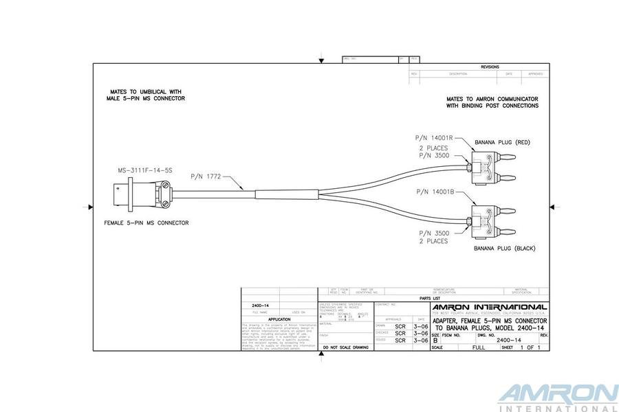Amron International 2400-14 Female 5-Pin MS Connector to Banana Plugs Communications Adapter
