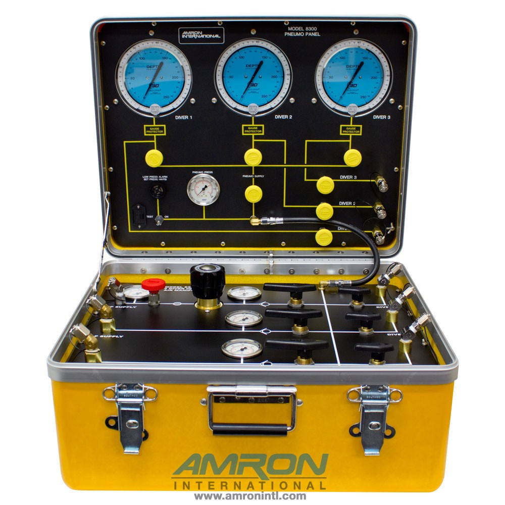 Amron 8300-HP 3 Commercial Diver Air Control System | High Pressure Air Control and Depth Monitoring System for 3- Diver 1 Regulator and 2 Low Pressure Inputs