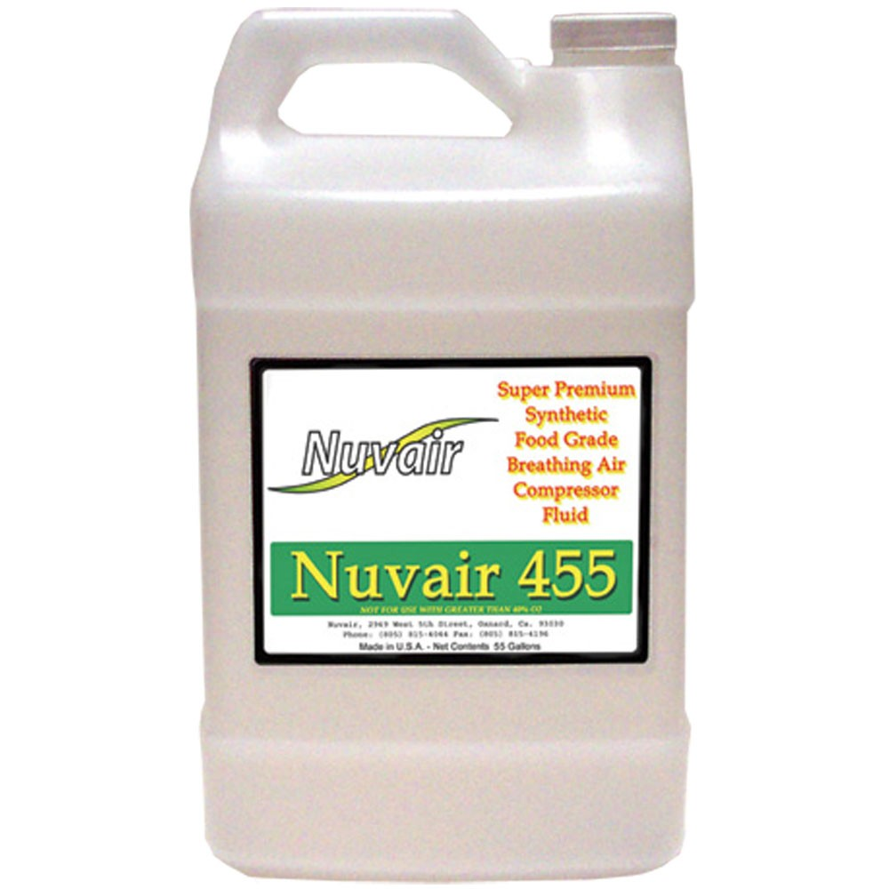 Nuvair 455 High Pressure and Low Pressure Breathing Air Compressor Oil - 1 Gallon Bottle NUV-9406