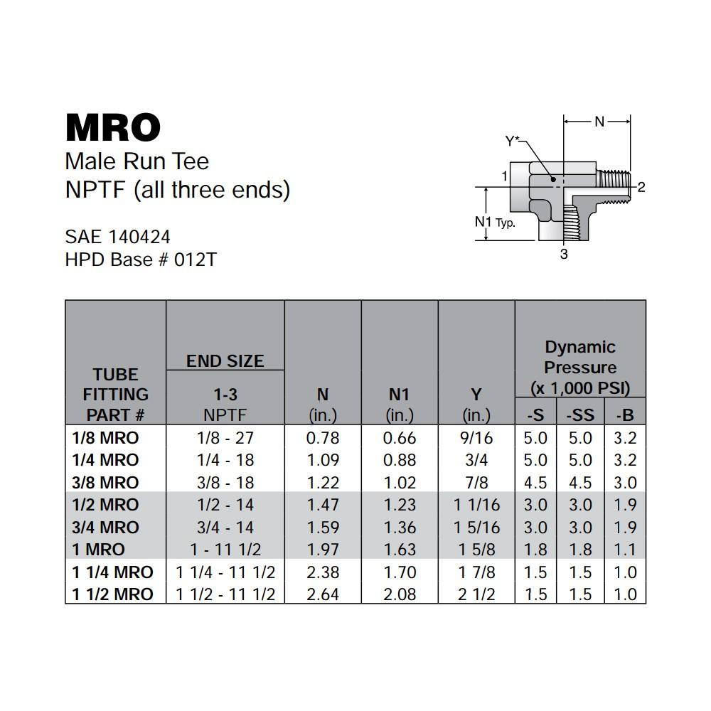 0d52006ef ... 1/4 in NPT Brass MRO-B Preloader · Parker MRO Female Pipe Tee Sizing  Chart Preloader · Parker MRO Street ...
