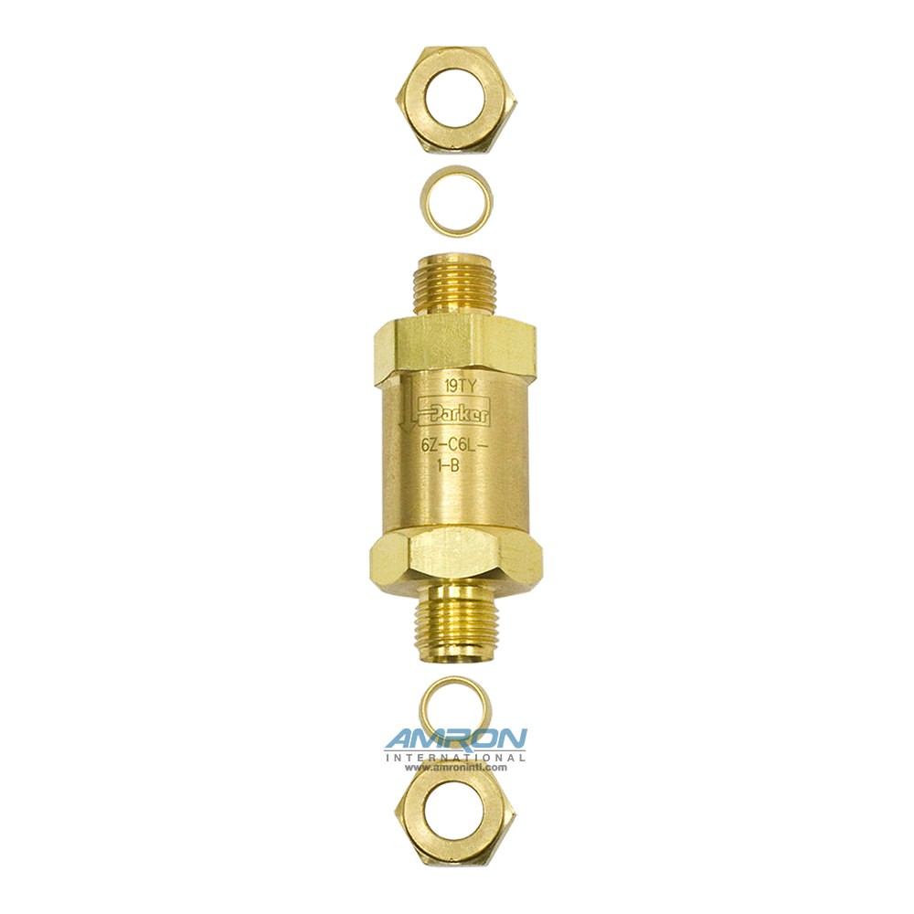 Parker C-Series Check Valve 1 PSI Cracking 3/8 in. Tube Brass 6Z-C6L-1-B