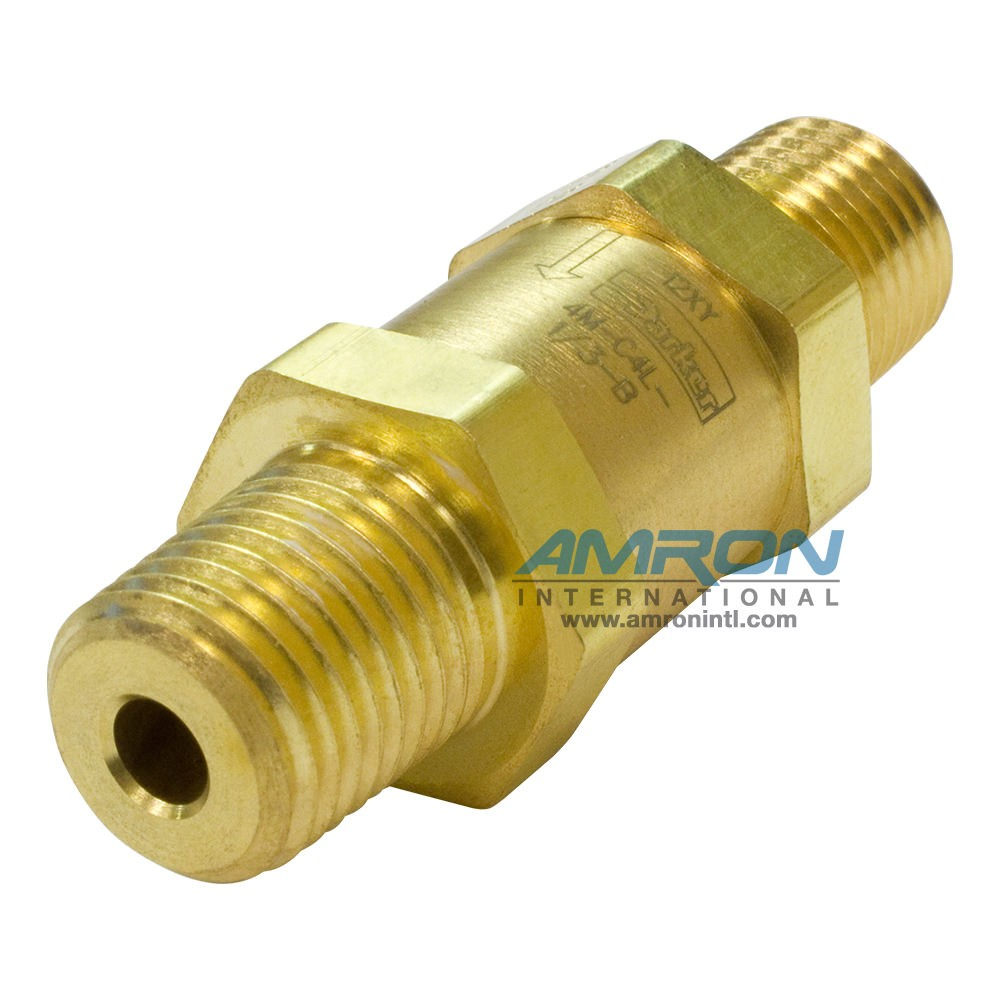 Parker C-Series Check Valve 1/4 in. MNPT 1/3 Cracking Brass 4M-C4L-1/3-B