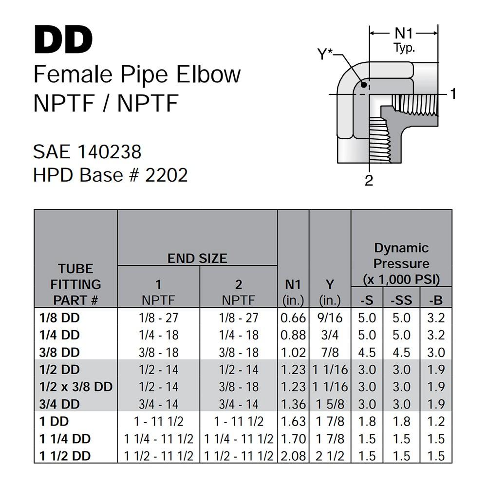 Parker DD Female Pipe Elbow 1/2 inch NPT - Brass DD-B-1/2
