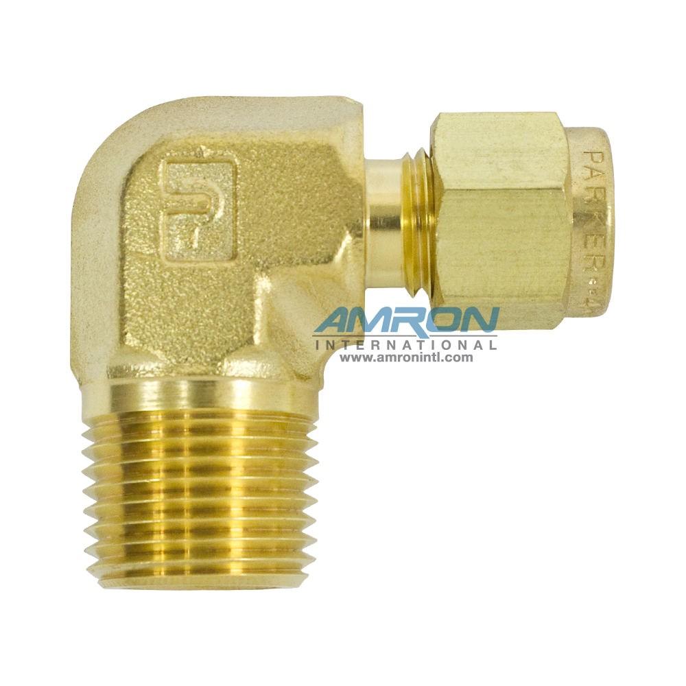 Parker CBZ Male Elbow 1/4 inch NTP x 3/8 inch NPT - Brass - CBZ-B-4-6