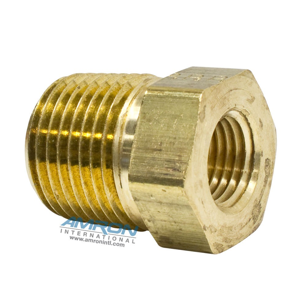 Parker PTR Pipe Thread Reducer 1/2 x 1/4 inch NPT - Brass - PTR-B-1/2X1/4