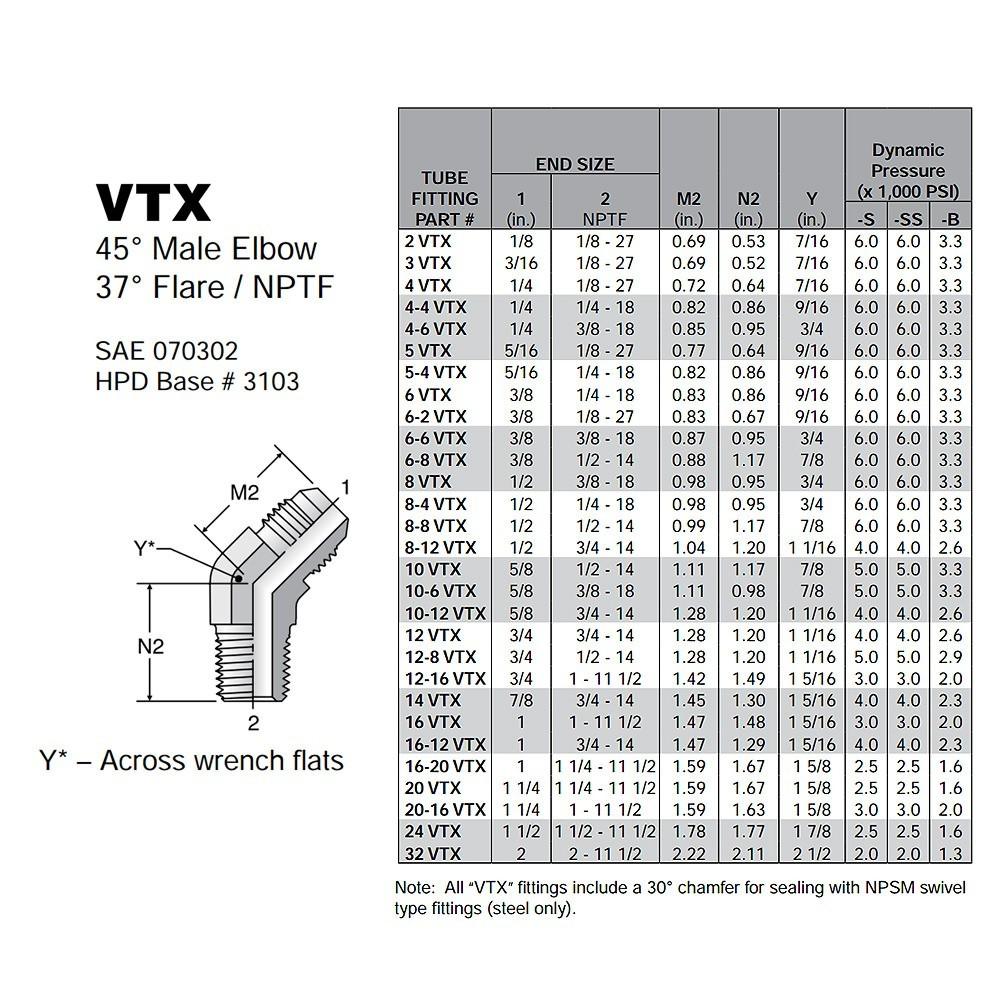 Parker Triplelok VTX Male 45 Elbow Sizing Chart