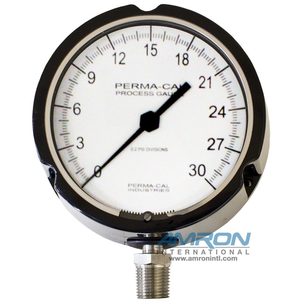 Perma-Cal 4.5 in. Standard Process Turret Gauge 1% Accuracy Full Scale, 0.5% Accuracy Mid Scale, 0-30 PSI PER-121TIB01A23