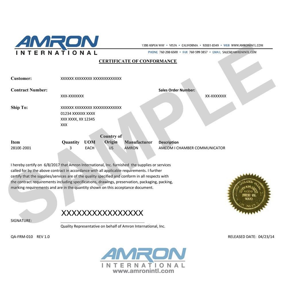 Amron Certificate of Conformance QA-FRM-010
