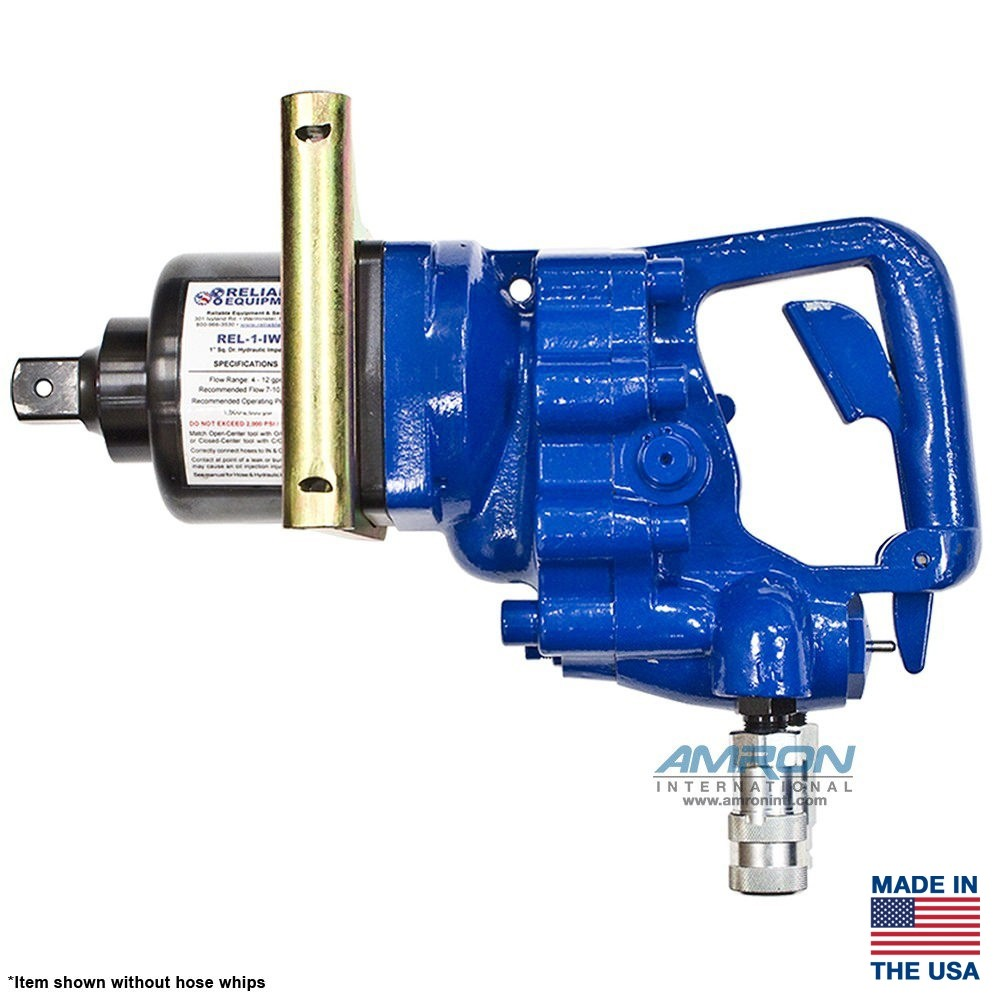 Reliable Equipment REL-1-IW Underwater Hydraulic Impact Wrench with 1 Inch  Square Drive (Includes Hose Whips & Couplers)