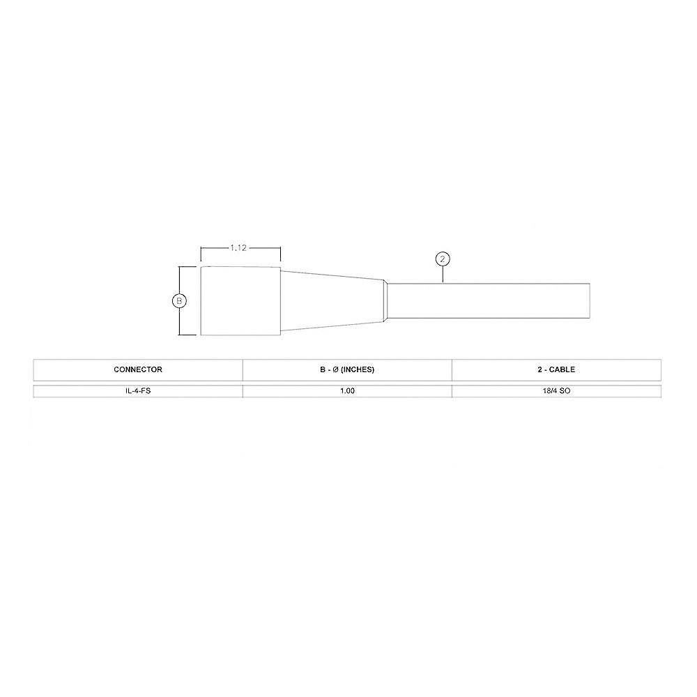 SEA CON In-Line Wet-Con Connector - 4 Socket Female IL-4-FS Dimension Details