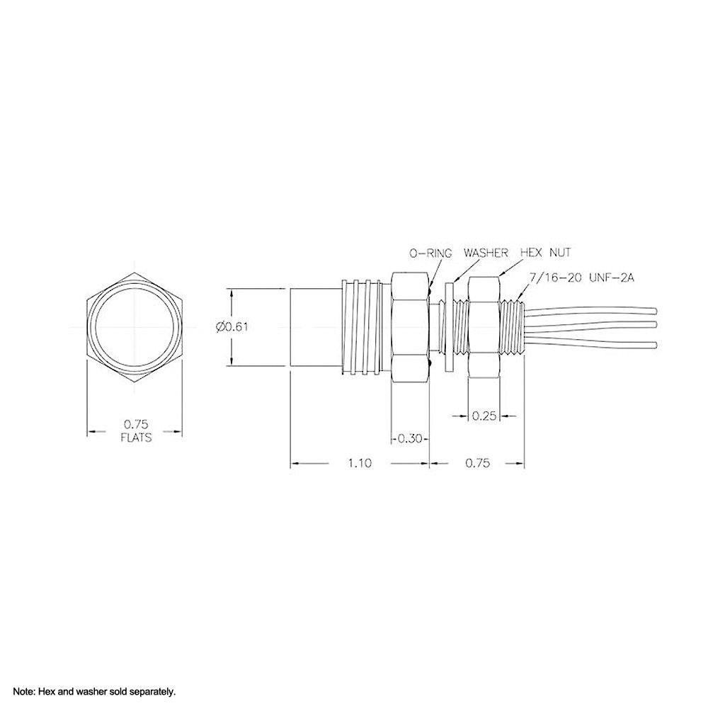 SEA CON Micro Wet-Con Female Bulkhead Connector with 8 Sockets MCBH8F Dimension Details