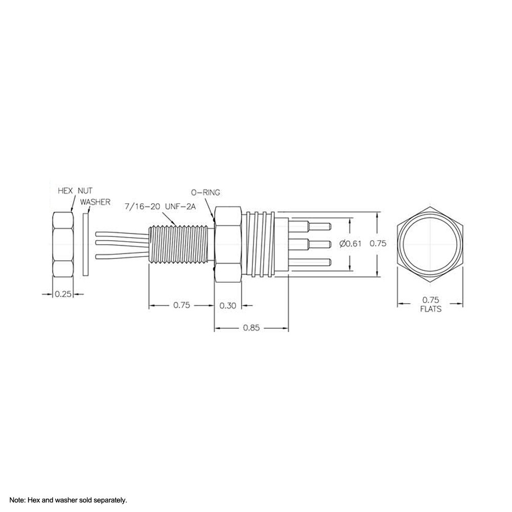 SEA CON Micro Wet-Con Male Bulkhead Connector with 3 Pins MCBH3M Dimension Details