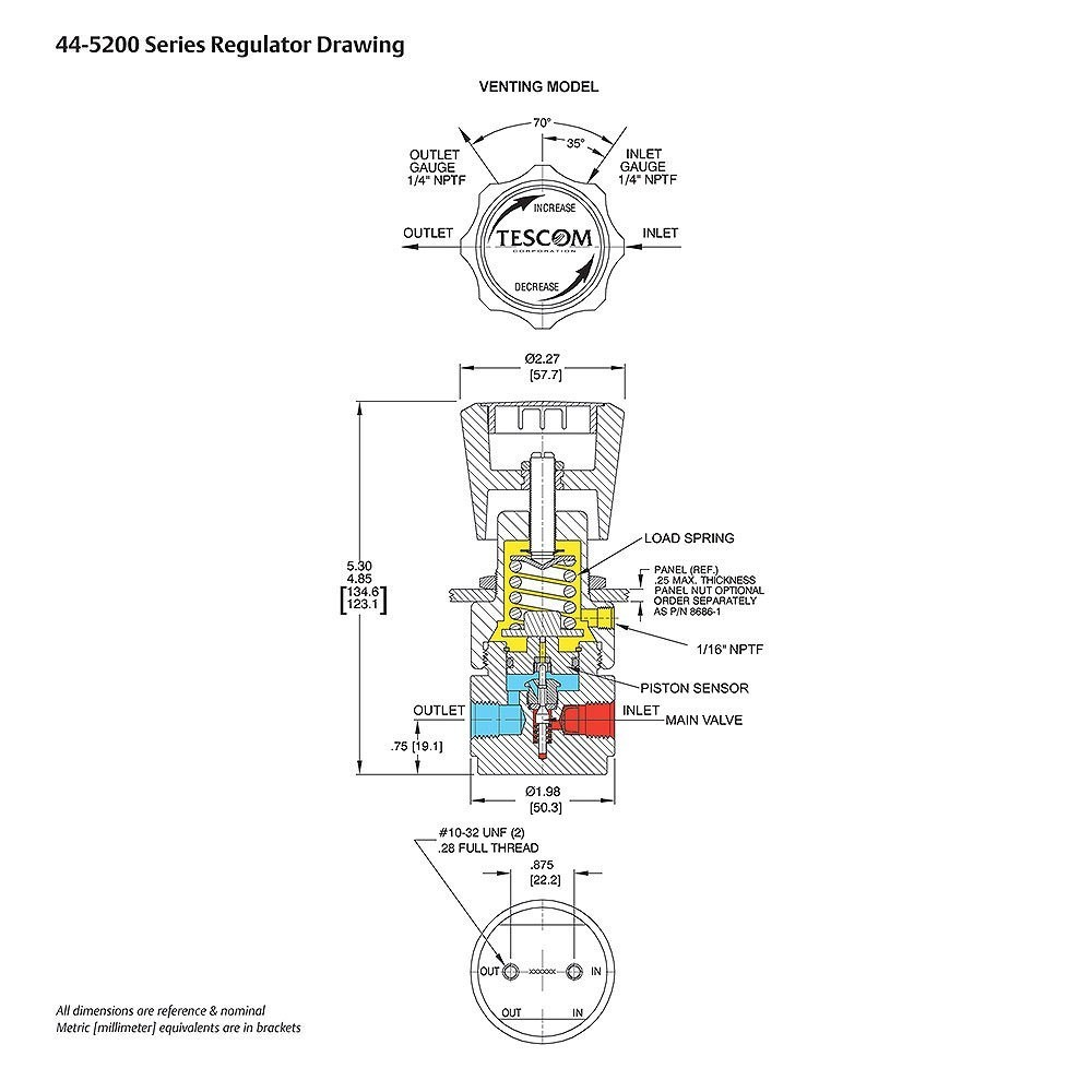 TESCOM Pressure Reducing Regulator Venting Drawing