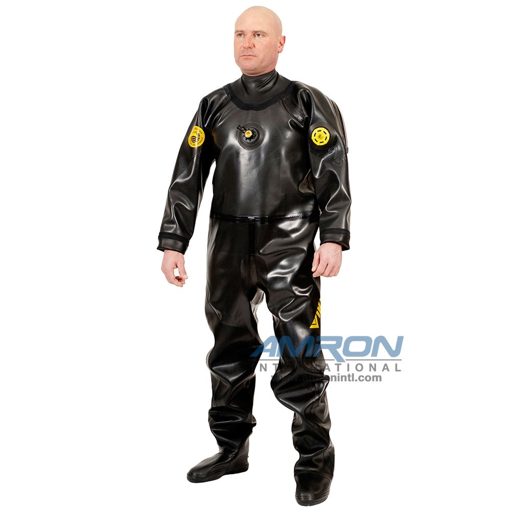 Viking PRO 1050 g/m2 Vulcanized Rubber Drysuit with Latex Neck Seal - Black