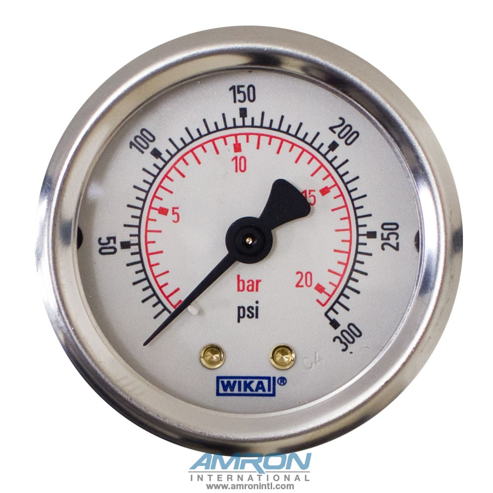 Wika Model 212.53 Bourdon Tube Dry Case Pressure Gauge 2 in 0-300 PSI 1/8 in
