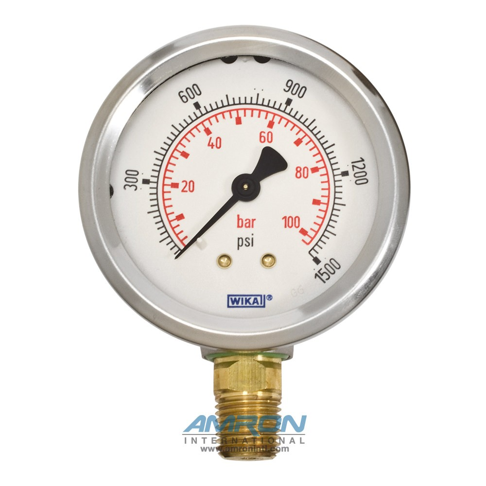 Wika Model 212 53 Bourdon Tube Dry Case Pressure Gauge 2 5 in  0-1500 PSI  1/4 in  NPT - Lower Mount - No Flange