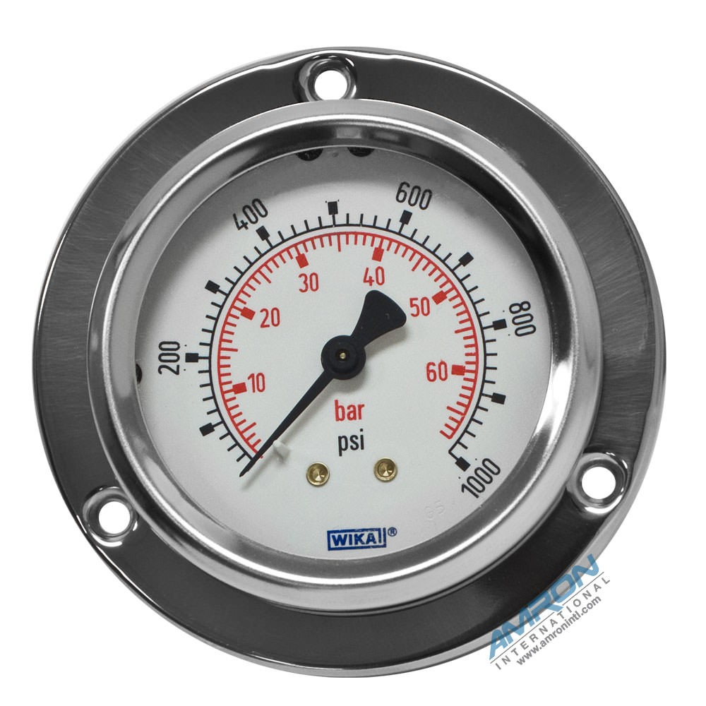 Wika Model 212.53 Bourdon Tube Dry Case Pressure Gauge 2.5 in. 0-1000 PSI 1/4 in. NPT - Center Back Mount - Front Flange