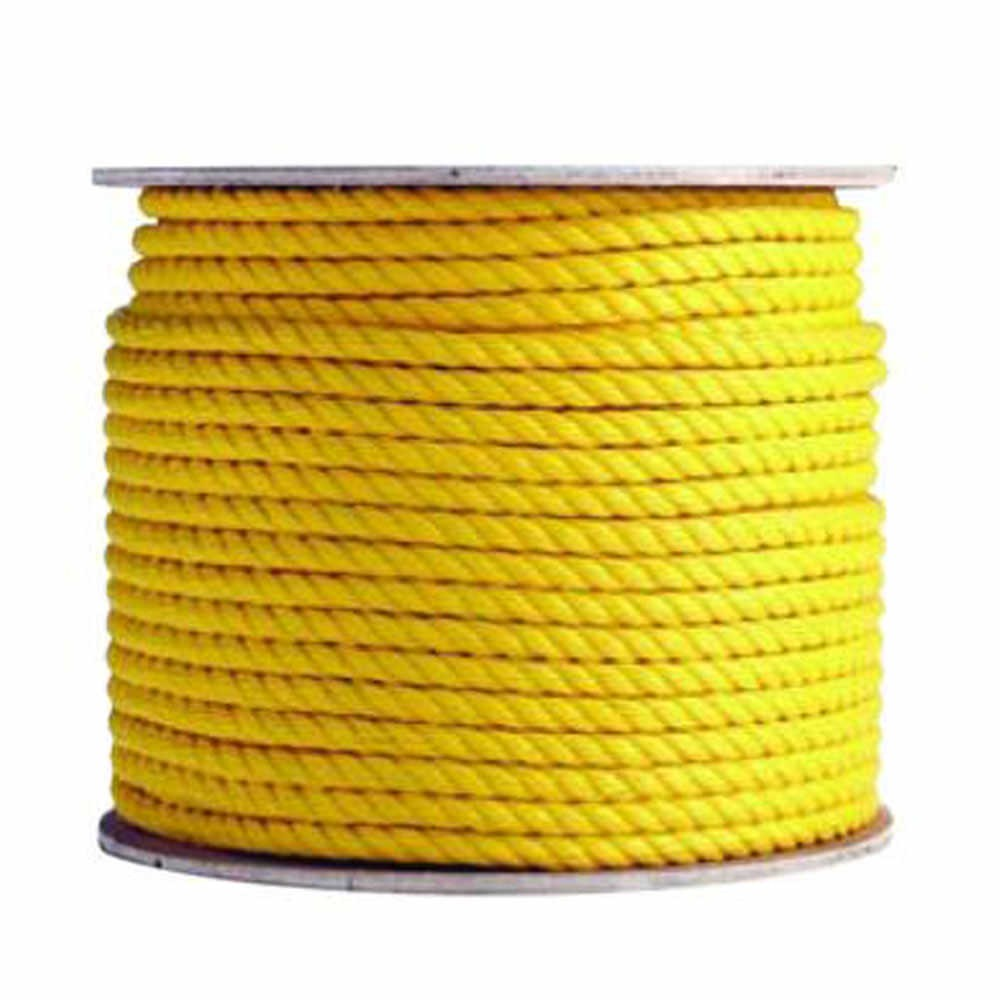 - POLYPRO-3/8-YEL-600 Yellow Twisted Braid Polypropylene Rope Spool 3/8 in   Diameter x 600 ft