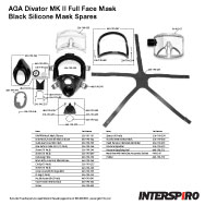Interspiro AGA Divator MK II Black Silicone Mask Spares Parts Breakout