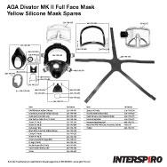 Interspiro AGA Divator MK II Yellow Silicone Mask Spares Parts Breakout